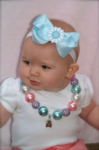 Headband and Hair Bow Set - Baby Blue Felt Flower and White Headband