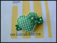 Heart - Green Gingham with Flower