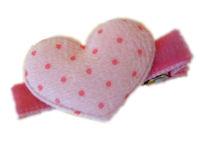 FELT CLIP - Puffy Heart - Baby Pink