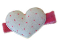 FELT CLIP - Puffy Heart - White