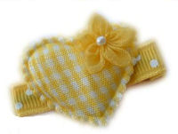 Heart - Yellow Gingham with Flower
