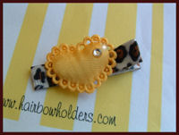 Heart - Satin Yellow Heart Bling on Cheetah