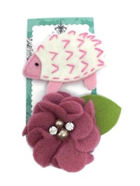 FELT CLIP - HedgeHog and Flower Coral Set