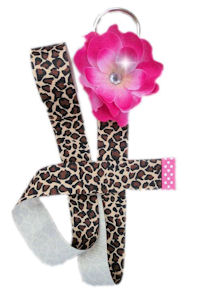 So Sweet Hot Pink Daisy Bow Holder - Cheetah Ribbon OR U Change Ribbon