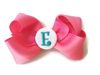 Hair Bow MONOGRAM - Hot Pink and Turquoise
