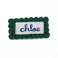 Felt Name Snap Clip - Hunter Green - Navy Writing