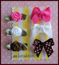 Infant Hair Pretties - Set of 6 Mini Bows and Silk Roses