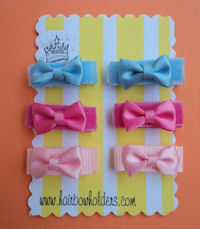 Infant Hair Pretties - Set of 6 for TWINS or SISTERS or PIGTAILS - tiny mini bows