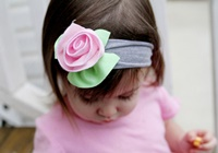 Charlotte Headband - Heather Gray with Soft Pink Flower
