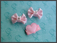 Infant Hair Pretties - 3 Pink Satin Photo Opp - Starter Pack