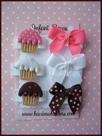 Infant Hair Pretties - Set of 6 Cupcakes and Bows