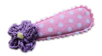 Cutie Snap Clips - Crochet Mini - Purple on Baby Pink Dots