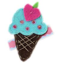 FELT CLIP - Ice Cream Love - Turquoise Scoop
