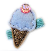FELT CLIP - Ice Cream Cone - Pink BLING