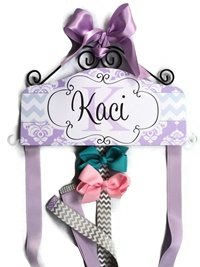 Hair Bow Holder - Chevron & Damask - Lavender and Grey