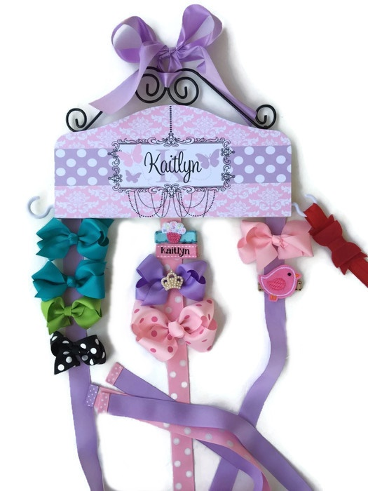 Hair Bow Holder - Butterflies - Pink Damask with Lavender