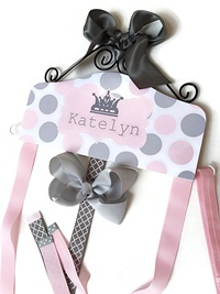 Hair Bow Holder - Polka Dots with Crown - Pink and Gray