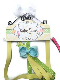 Hair Bow Holder - Sweet Birds with Yellow