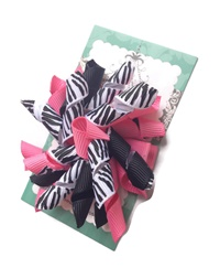 Korker Bows - Hot Pink and Zebra