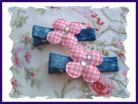 Gingham Flowers on Denim