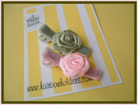 Satin Roses on Velvet - Pink & Spring Green