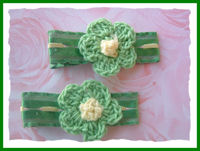 Crochet Flower Hair Clips - Green w/Yellow Center on Green Trim