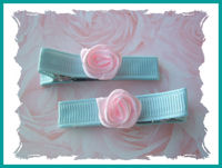 Roses - Pink Swirls on Gorgeous Aqua