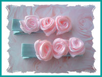 Roses - Pink Swirls (3) on Gorgeous Aqua