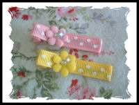 Dots - Pink n Yellow Flowers with Bling!