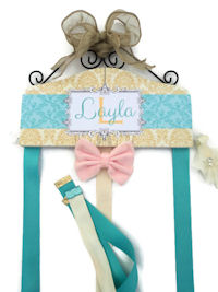 Emma Collection - Gold and Aqua Damask - Layla style
