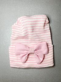 Newborn Hospital PINK STRIPE Hat - Linen Bow - Baby Pink