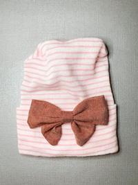 Newborn Hospital PINK STRIPE Hat - Linen Bow - Brick Red