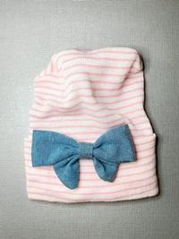 Newborn Hospital PINK STRIPE Hat - Linen Bow - Denim Blue