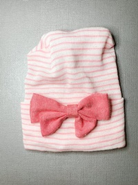 Newborn Hospital PINK STRIPE Hat - Linen Bow - Faded Hot Pink
