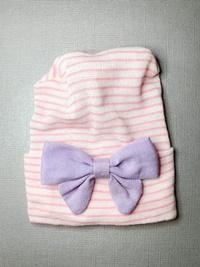 Newborn Hospital PINK STRIPE Hat - Linen Bow - Lavender