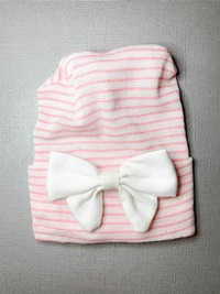 Newborn Hospital PINK STRIPE Hat - Linen Bow - Off White