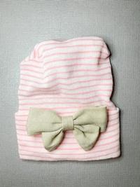 Newborn Hospital PINK STRIPE Hat - Linen Bow - Tan