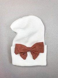 Newborn Hospital WHITE Hat - Linen Bow - Brick Red