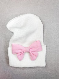 Newborn Hospital WHITE Hat - Linen Bow - Baby Pink