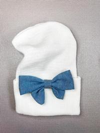 Newborn Hospital WHITE Hat - Linen Bow - Denim Blue