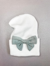 Newborn Hospital WHITE Hat - Linen Bow - Gray