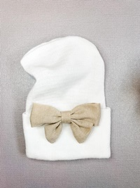 Newborn Hospital WHITE Hat - Linen Bow - Tan