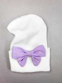 Newborn Hospital WHITE Hat - Linen Bow - Lavender