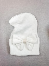 Newborn Hospital WHITE Hat - Linen Bow - Off White