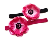 Monogram Silk Flower Headbands - For Sisters