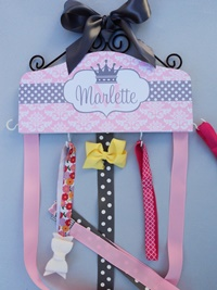 Hair Bow Holder - Damask n Dots - Pink & Gray with Crown