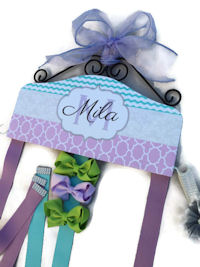 Hair Bow Holder - Aqua, Grey, Lavender Mila style