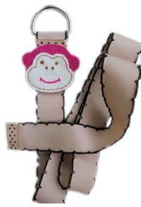 Monkey Simple Bow Holder - Hot Pink & Light Brown