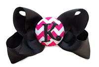 Basic Bows - MONOGRAM - Everyday Black with Hot Pink Chevron