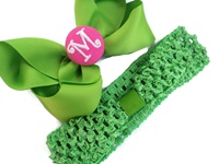 A Monogrammed Bow + Headband Kit - Green with Hot Pink Center